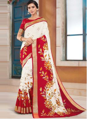 Silk Designer Traditional Saree in Off White and Red