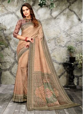 Silk Digital Print Casual Saree in Brown