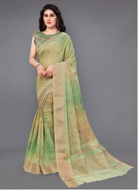 Multi Colour Silk Digital Print Classic Saree