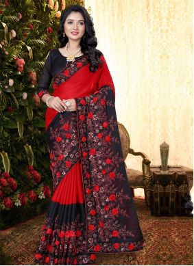 Silk Embroidered Black and Red Classic Saree