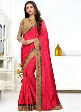 Silk Embroidered Classic Designer Saree in Pink