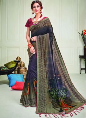 Silk Embroidered Contemporary Saree in Blue