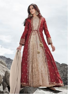 Silk Embroidered Cream and Red Anarkali Salwar Suit