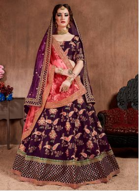 Magenta Silk Embroidered Designer Lehenga Choli