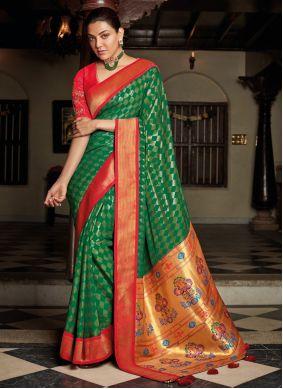Silk Embroidered Green Designer Traditional Saree
