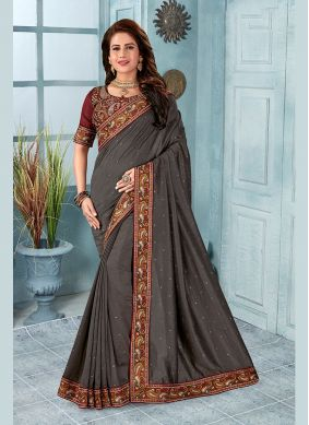 Silk Embroidered Grey Classic Saree