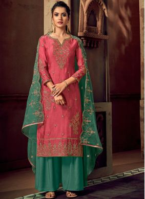 Silk Embroidered Hot Pink Trendy Palazzo Suit