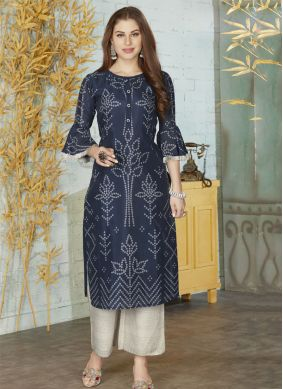 Silk Embroidered Navy Blue Party Wear Kurti