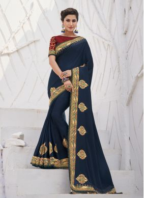 Silk Embroidered Navy Blue Trendy Saree