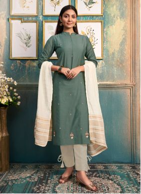 Silk Embroidered Party Wear Kurti in Green