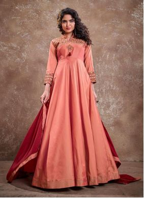 Silk Embroidered Peach Readymade Anarkali Suit