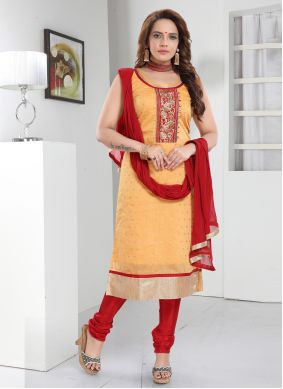 Orange Silk Embroidered Readymade Suit
