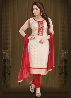 Silk Embroidered Readymade Suit in Cream