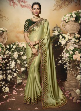 Silk Embroidered Traditional Saree in Green