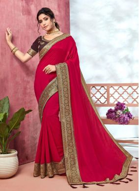 Silk Embroidered Traditional Saree in Hot Pink