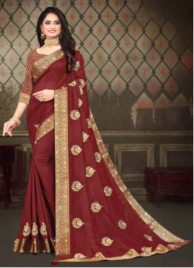 Silk Embroidered Traditional Saree in Maroon