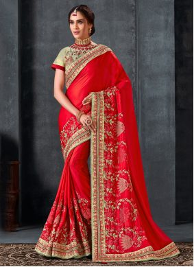 Silk Embroidered Traditional Saree in Red