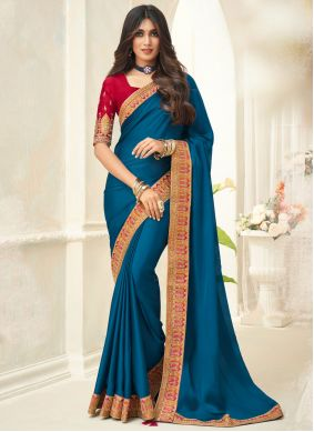 Silk Embroidered Traditional Saree in Turquoise