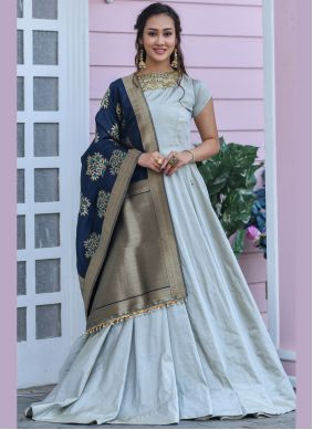 Silk Embroidered Trendy Gown