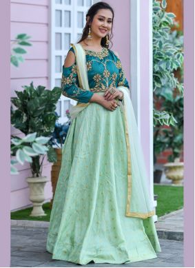 Silk Embroidered Trendy Gown in Green