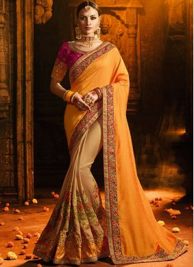 Silk Embroidered Yellow Designer Half N Half Saree
