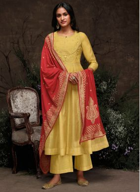 Silk Embroidered Yellow Trendy Pakistani Suit