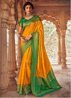 Silk Fancy Designer Traditional Saree in Green and Mustard