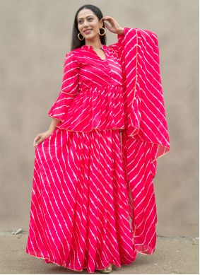 Silk Fancy Hot Pink Readymade Suit