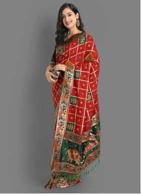 Red Silk Festival Traditional Saree