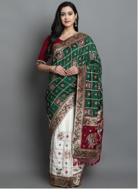 Silk Green and Off White Patola Print Designer Traditional Saree