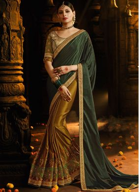 Silk Green Embroidered Half N Half  Saree