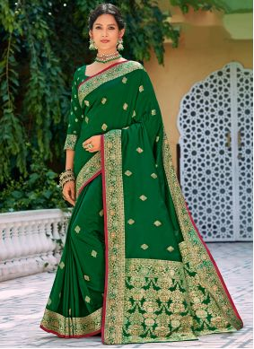 Silk Green Weaving Silk Saree