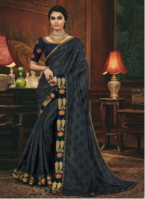 Silk Grey and Navy Blue Embroidered Designer Traditional Saree