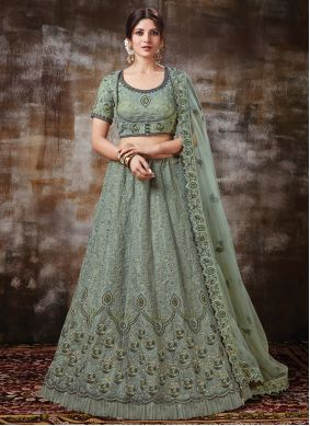 Silk Grey Embroidered A Line Lehenga Choli