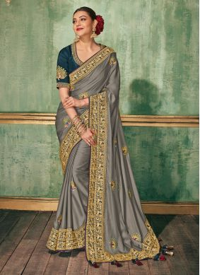 Silk Grey Embroidered Classic Saree
