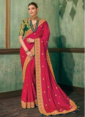 Silk Hot Pink Embroidered Classic Saree