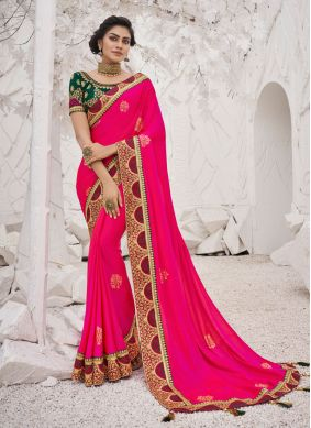 Silk Hot Pink Embroidered Trendy Saree