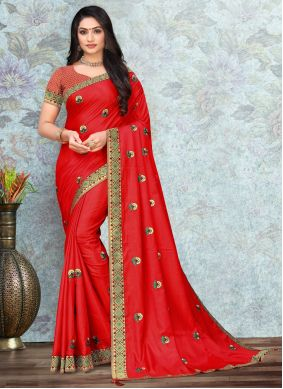 Silk Lace Red Trendy Saree