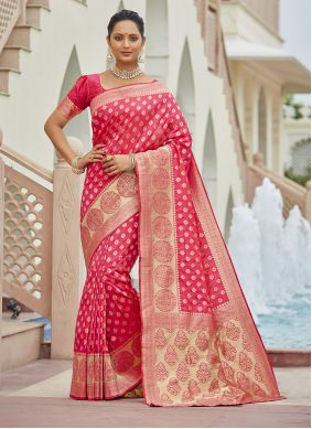 Silk Magenta Zari Traditional Saree