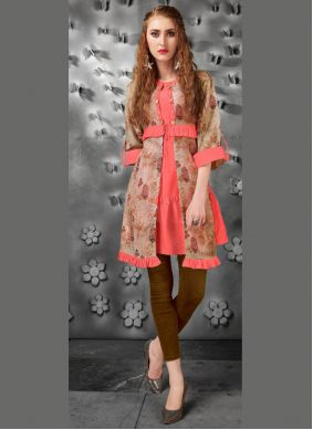Silk Multi Colour Embroidered Casual Kurti