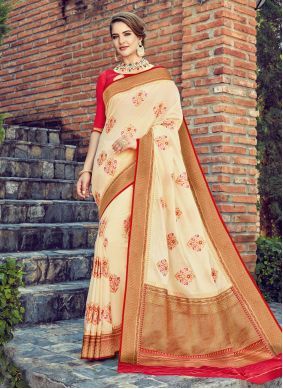Silk Off White Weaving Traditional Saree