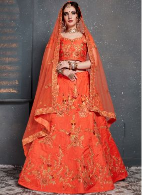 Silk Orange Embroidered Designer Lehenga Choli