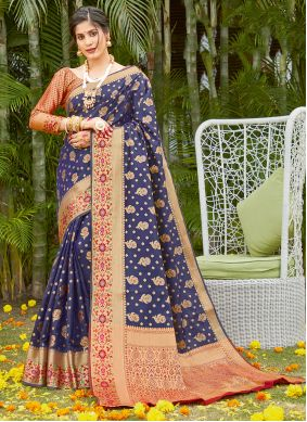 Blue Silk Party Traditional Saree