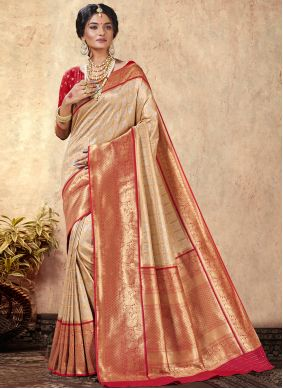 Beige Silk Party Traditional Saree