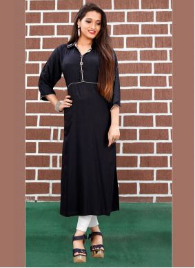Silk Party Wear Kurti in Black