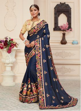 Silk Patch Border Navy Blue Designer Traditional Saree