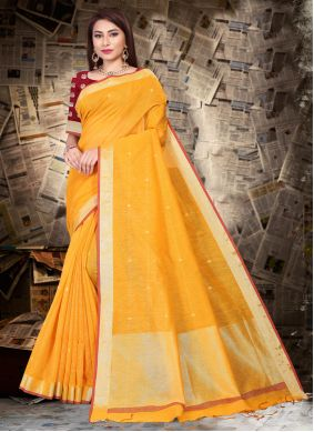 Silk Patch Border Yellow Bollywood Saree