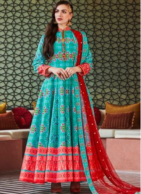 Silk Patola Print Aqua Blue Readymade Anarkali Suit