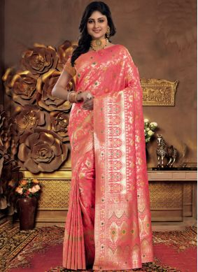 Silk Pink Abstract Print Classic Saree