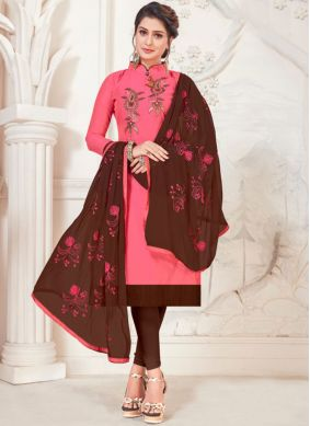 Silk Pink Churidar Salwar Suit
